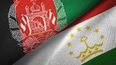 Afghanistan and Tajikistan two flags textile cloth, fabric texture