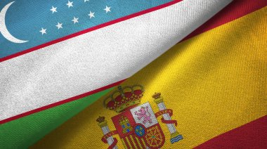 Uzbekistan and Spain two flags textile cloth, fabric texture