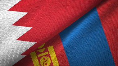 Bahrain and Mongolia two flags textile cloth, fabric texture