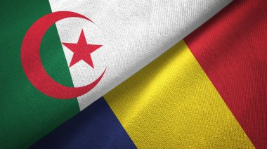Algeria and Chad two flags textile cloth, fabric texture
