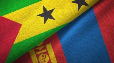 Sao Tome and Principe and Mongolia two flags
