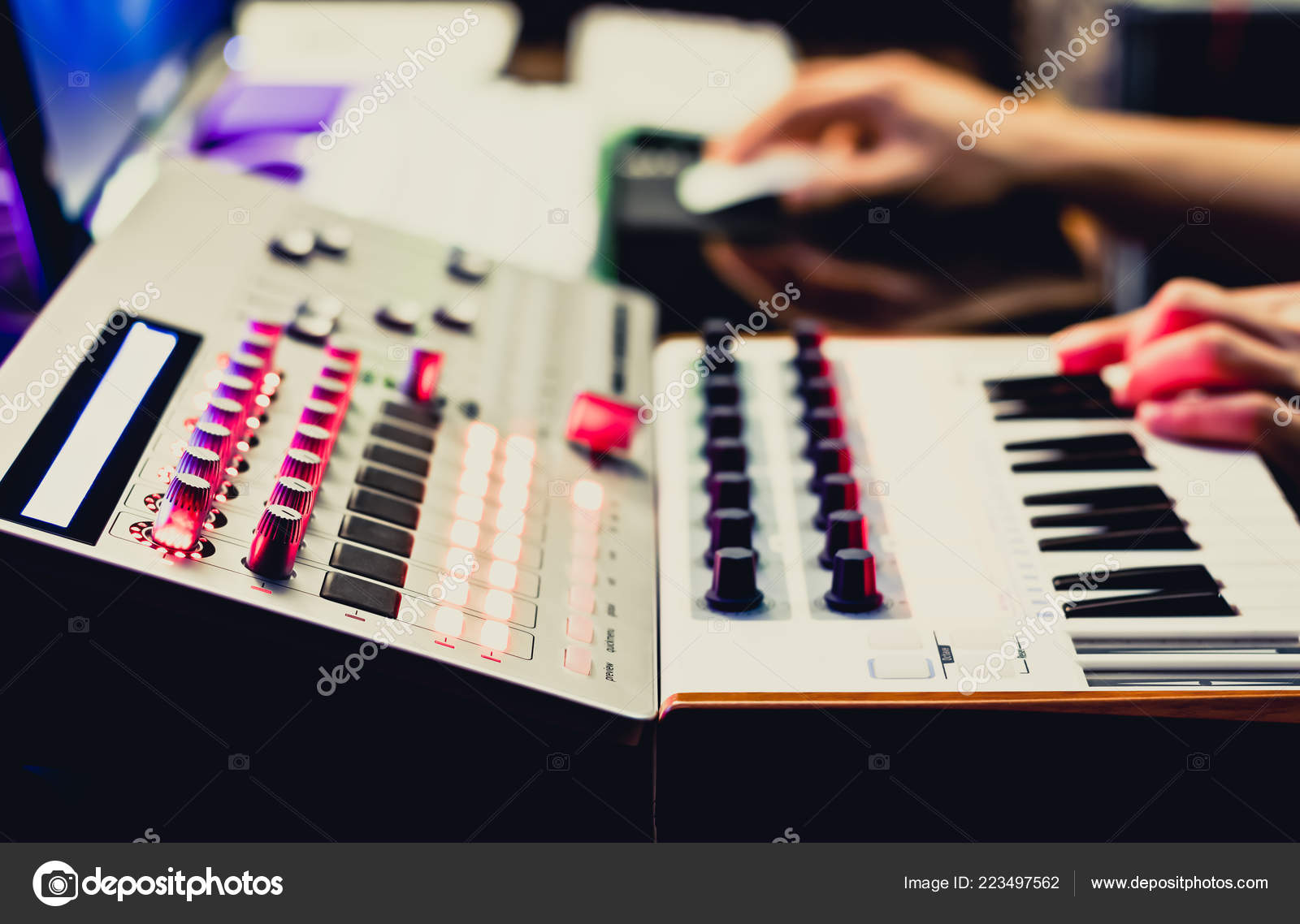 Music Producer Hands Composing Song Recording Equipment Midi