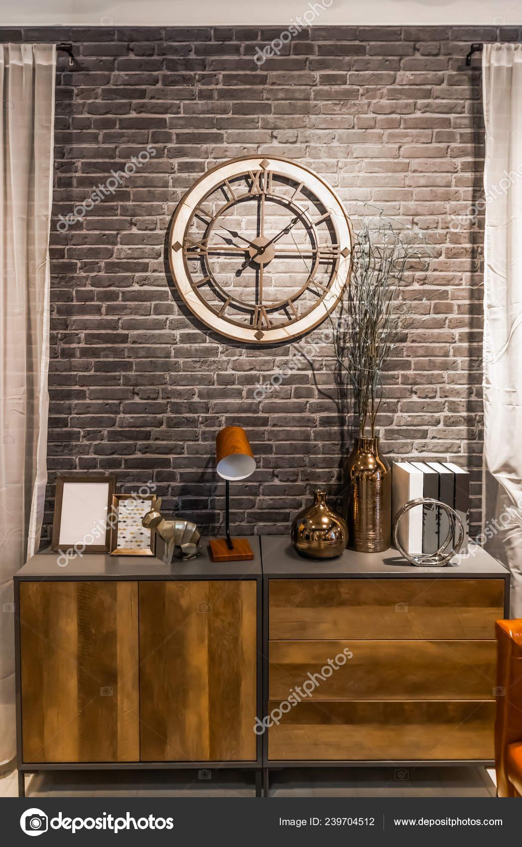 Aparador Madera Estilo Retro Con Loft Vintage Reloj Diseño