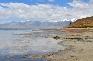 China, Tibet, the clouds are reflected in the sacred lake for Buddhists Manasarovar
