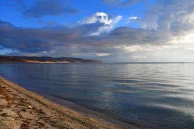 Tibet, sacred for Buddhists lake Manasarovar at dawn