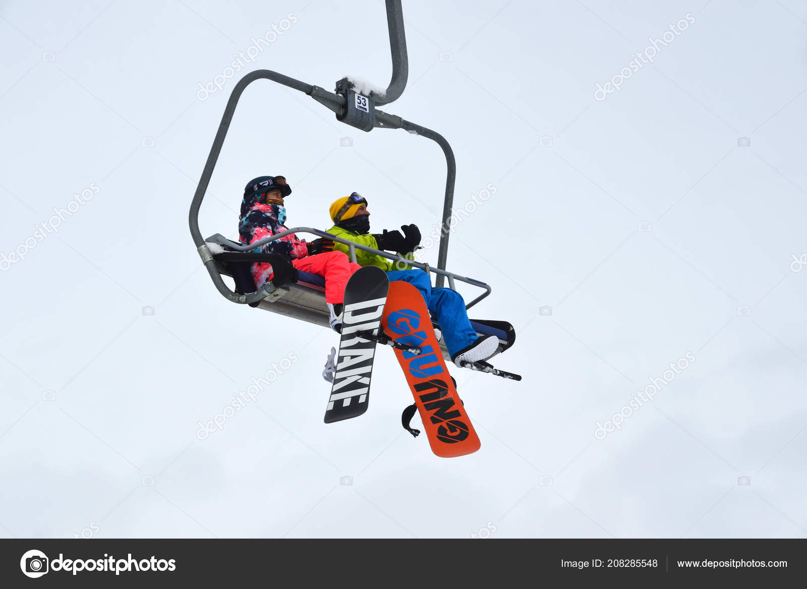 rosa khutor sochi russia january snowboarders cableway cloudy