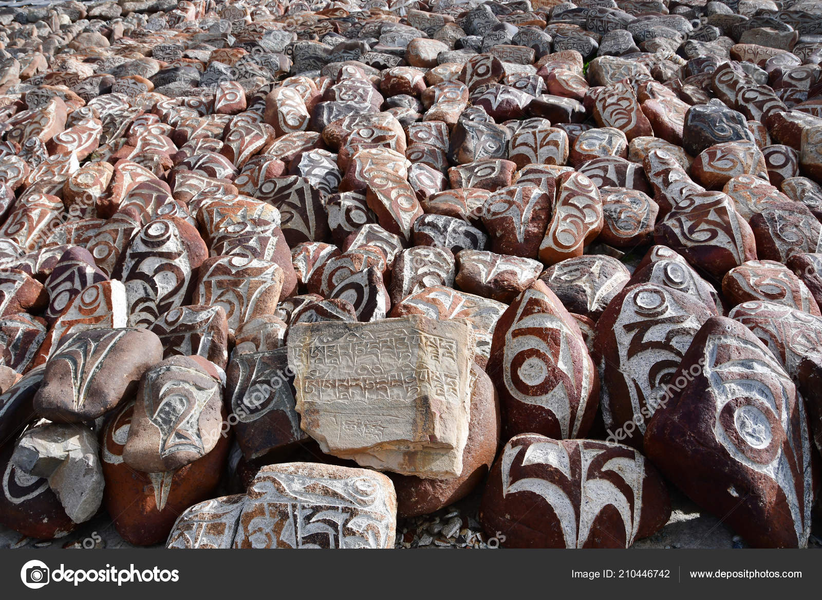 Tibet Buddhist Prayer Stones Mantras Ritual Drawings Trail