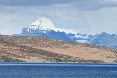 Tibet. Sacred lake Manasarovar and southern face of Kailas