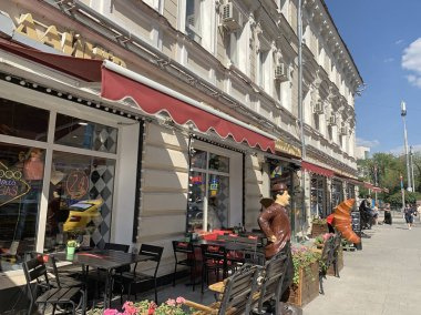 Moscow, Russia, June. 20, 2019. Sretenka street, house 1/4. Apartment house (based on the hotel) (1797; 1816, architect V.P. Stasov; 1892-1898, architect P.A. Ushakov). Now the Beverly Hills Diner