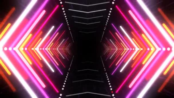 Abstract Background With Animation Of Flight In Abstract Futuristic Tunnel With Neon Light Animation Of Seamless Loop