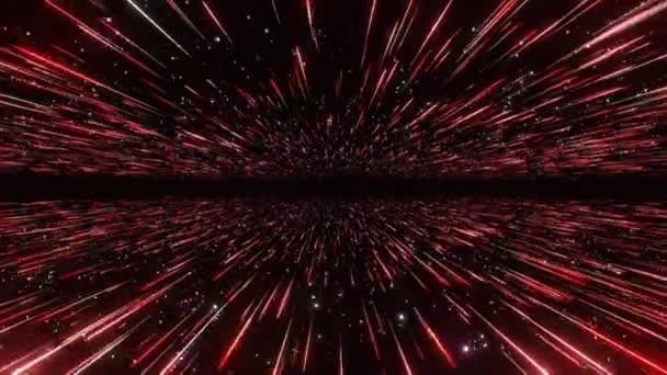 Absztrakt hipertér háttér. Fénysebesség, neon izzó sugárzás és a csillagok mozgásban helyet logo vagy szöveg. Vörös változat. Halad át a csillagokat. 4k varrat nélküli hurok
