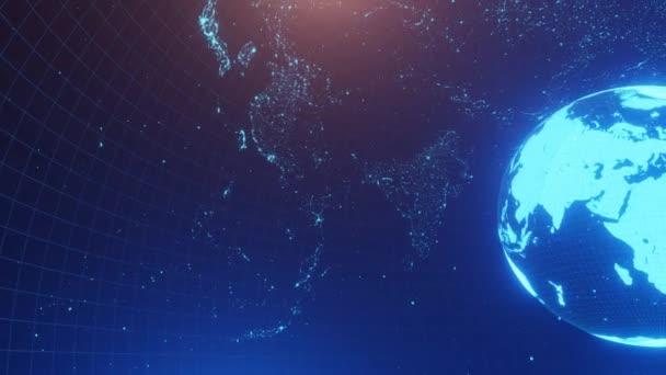 3D animace abstraktního prostoru s mapou světa a zemí. Animace smyčky 4K.