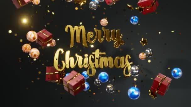Új év és karácsony 2021. Mozgatható arany felirat MERRY karácsony egy fekete háttér arany konfetti, karácsonyi labdák, ajándékdobozok. 3D 4K hurok animáció