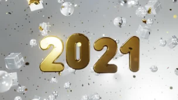 Nový rok a Vánoce2021. Pohyblivý zlatý nápis 2021 na bílém pozadí se zlatými konfetami, vánočními míčky, dárkovými krabicemi. Animace smyčky 3D 4K