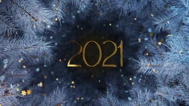 Nový rok a Vánoce2021. Mobilní zlatý nápis 2021 na pozadí modrých větví vánočních stromků se zlatými a bílými vločkami. Animace 4K 3D smyčky