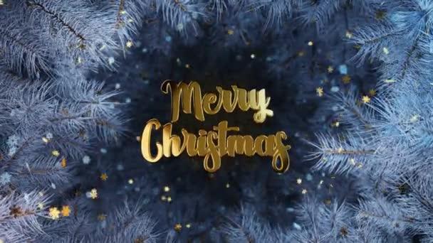 Nový rok a Vánoce2021. Mobilní zlatý nápis MERRY CHRISTMAS na pozadí modrých větví vánočních stromků se zlatem a zmrzlými sněhovými vločkami. Animace 4K 3D smyčky