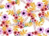 vzor bezešvé s barevné květiny a zelené listy, akvarel, ilustrace
