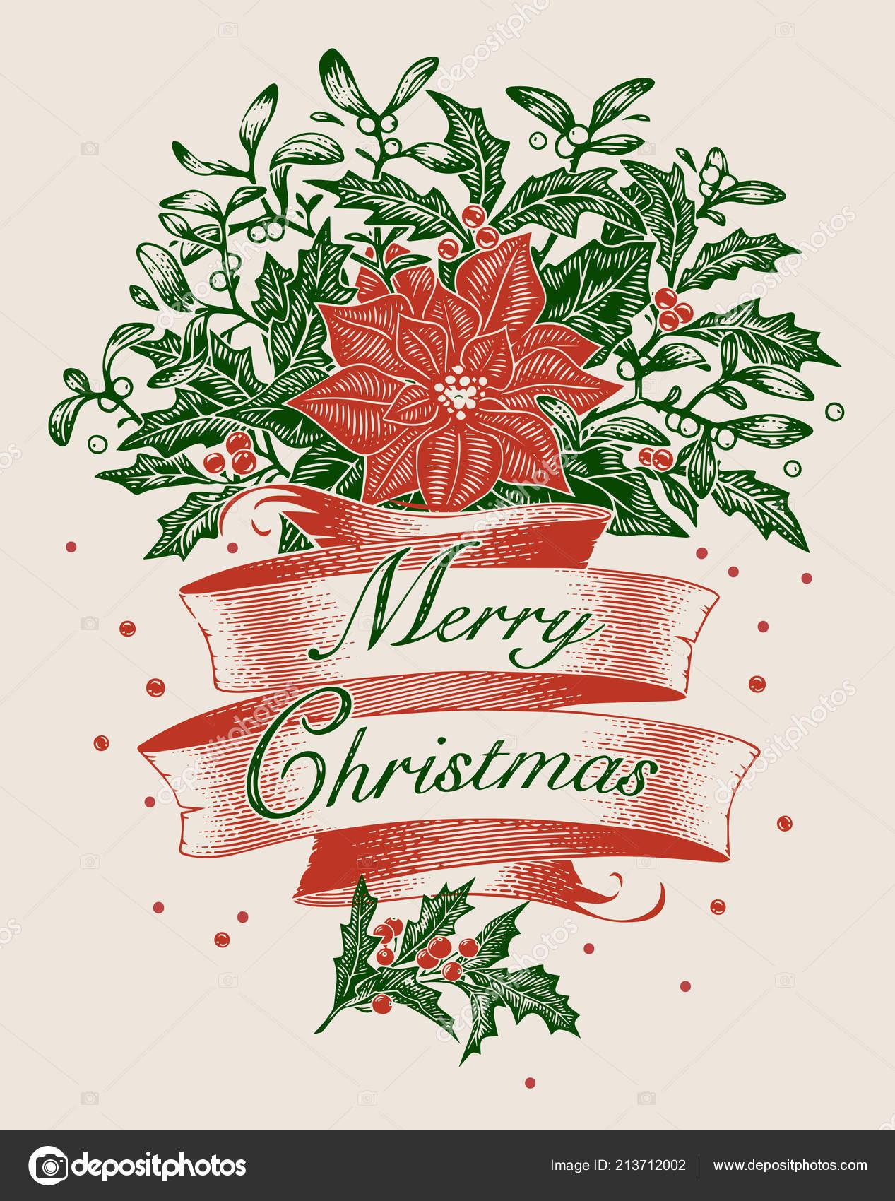 Vintage Engraving Christmas Art Greeting Card Poster Banner Vector