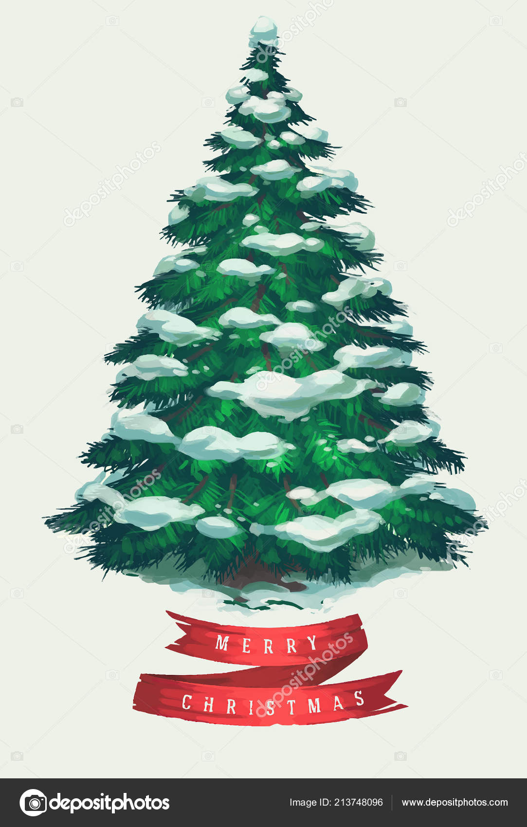 Vintage Christmas Tree Art Greeting Card Poster Banner Vector Illustration Vector Image By C Darumo Vector Stock 213748096