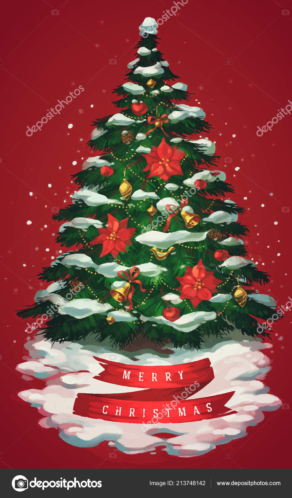 Vintage Christmas Tree Art Greeting Card Poster Banner Vector Illustration Stock Vector C Darumo 213748142