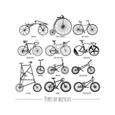 Types of bicycles. Vector hand drawn illustration of different bikes in vintage engraved style. Isolated on white background.