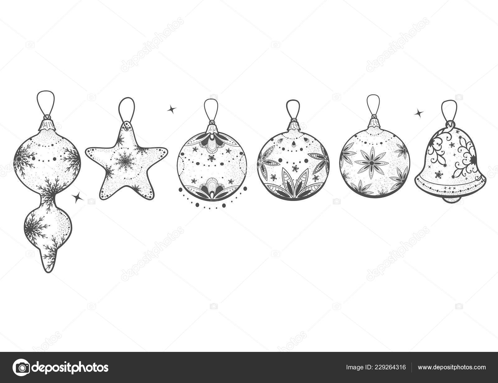 christmas ornaments drawing vector hand drawn set christmas ornaments vintage engraved style isolated stock vector c suricoma 229264316 https depositphotos com 229264316 stock illustration vector hand drawn set christmas html