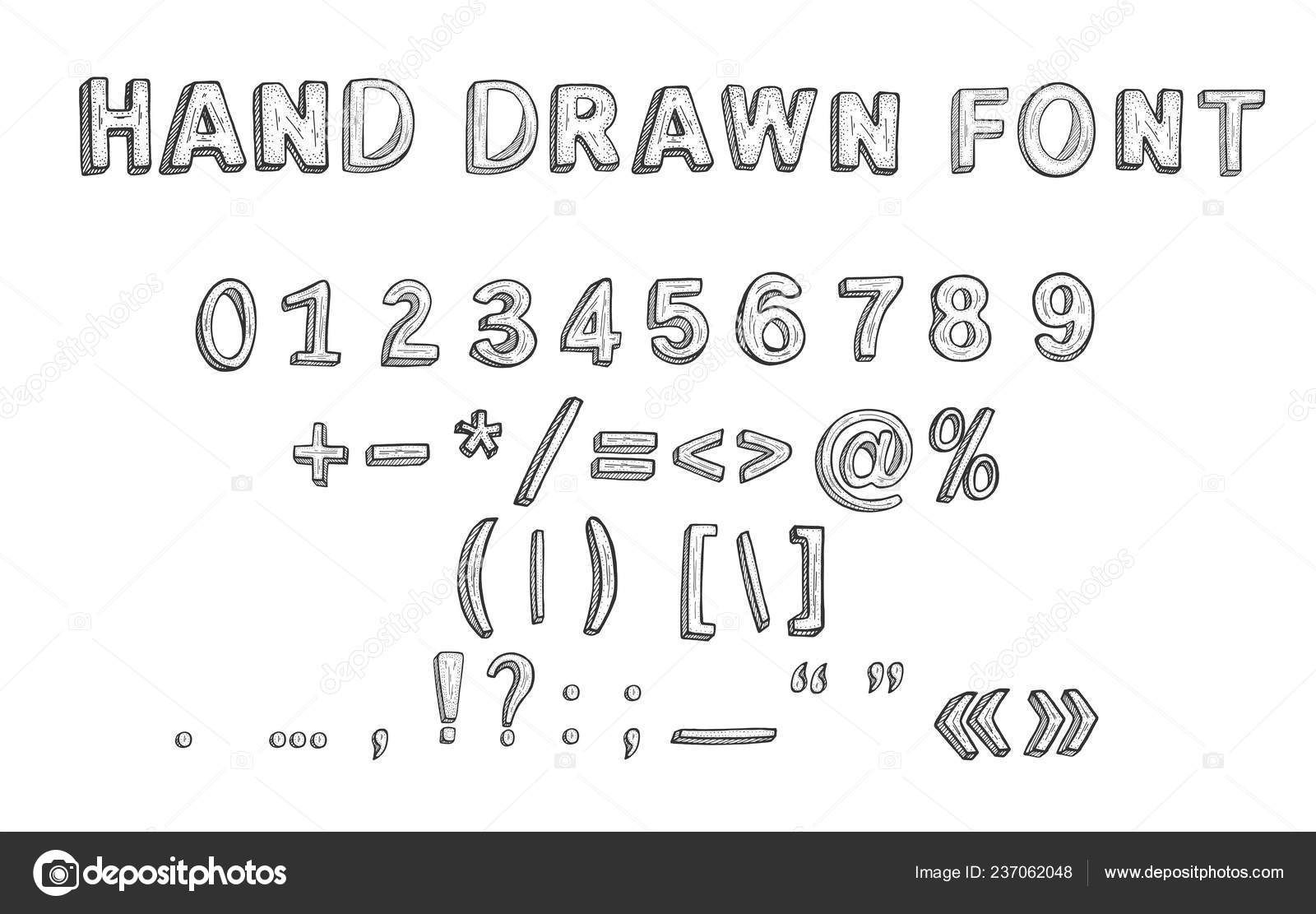 Vector Illustration Hand Drawn Font Doodle Style Numbers