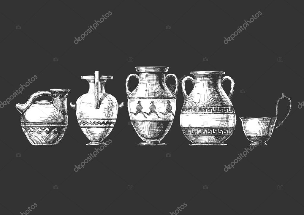 Vector Hand Drawn Sketch Of Ancient Greek Vases Set In Ink Hand Drawn Style Types Of Vases Askos Pottery Vessel Hydria Amphora Pelike Kyathos Typology Of Greek Vase Shapes Premium Vector