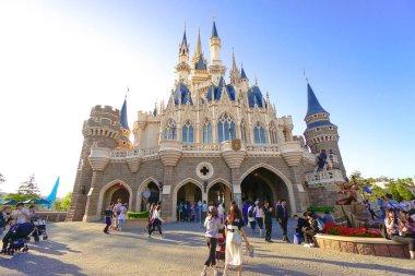 Beautiful Cinderella Castle, the icon of Tokyo Disneyland in Tokyo Disney Resort in Urayasu, Chiba prefecture, Tokyo, Japan