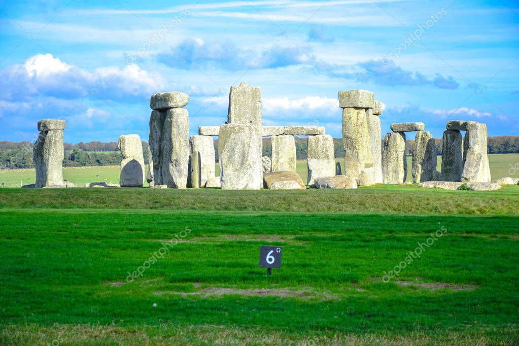 Landscape view of Stonehenge, a prehistoric stone monument in Salisbury, Wiltshire, England, United Kingdom