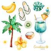 Fotografia Collezione estate con frutta esotica, Palma, fiori di ibisco, tropical leaves, fiore di plumeria, scarpe pantofole cocktail, piatto