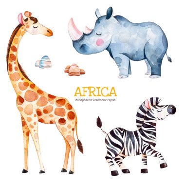Safari collection with giraffe, rhino and zebra, watercolor illustration