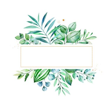 Watercolor frame border with green leaves