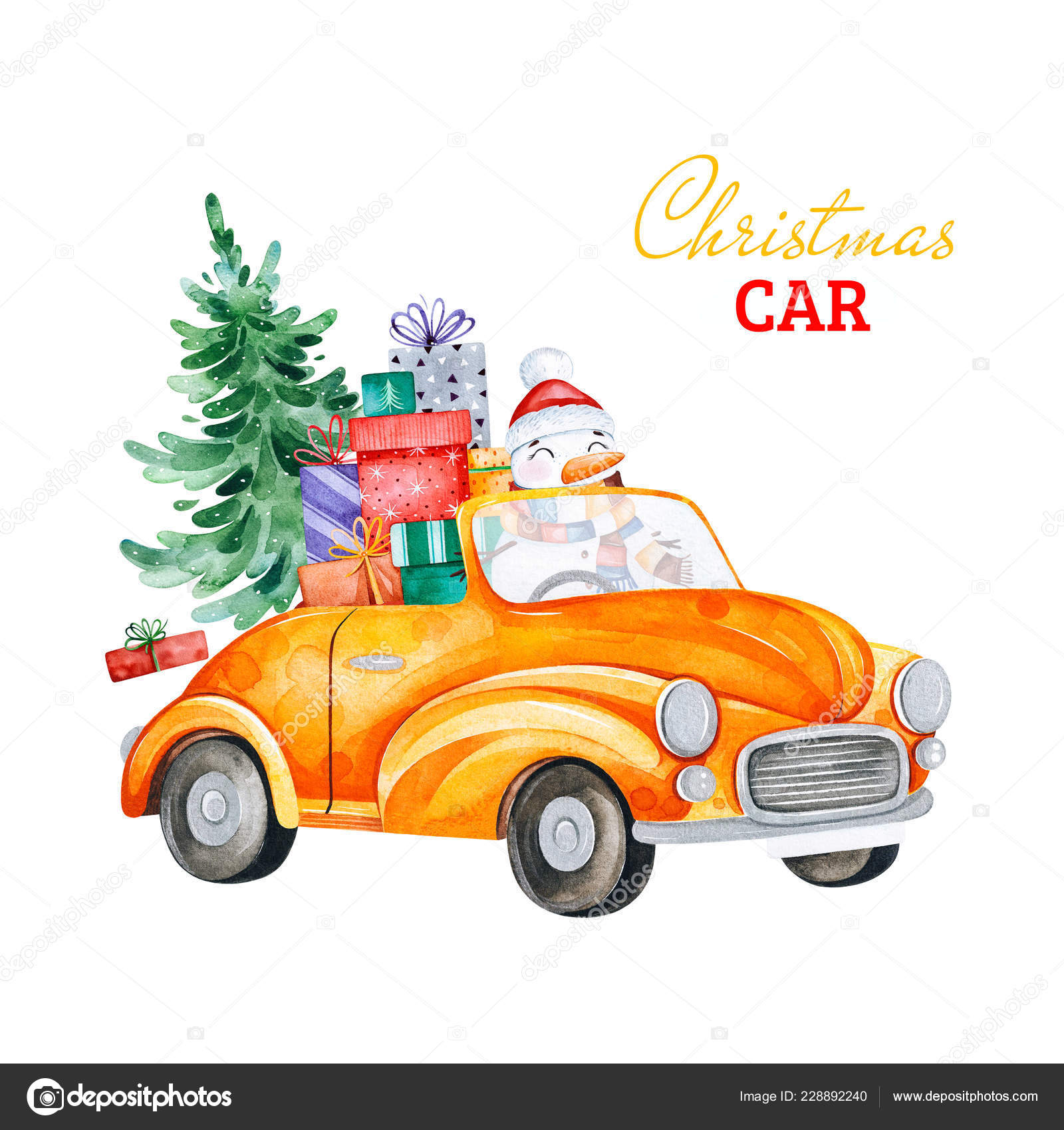 Christmas abstract retro car with Christmas tree ts and other decorations Watercolor holiday illustration Perfect for your Christmas and New Year