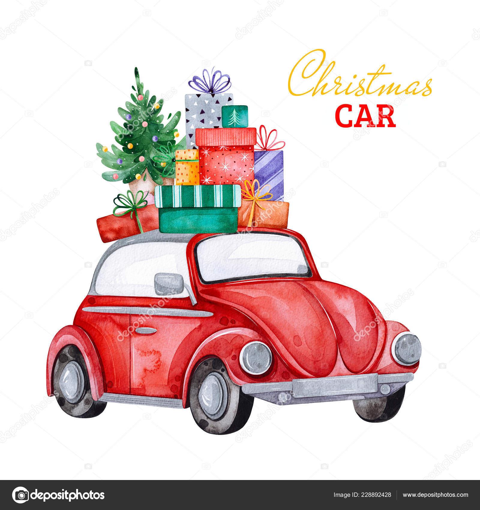 Car Christmas Tree.Christmas Abstract Retro Car Christmas Tree Gifts Other