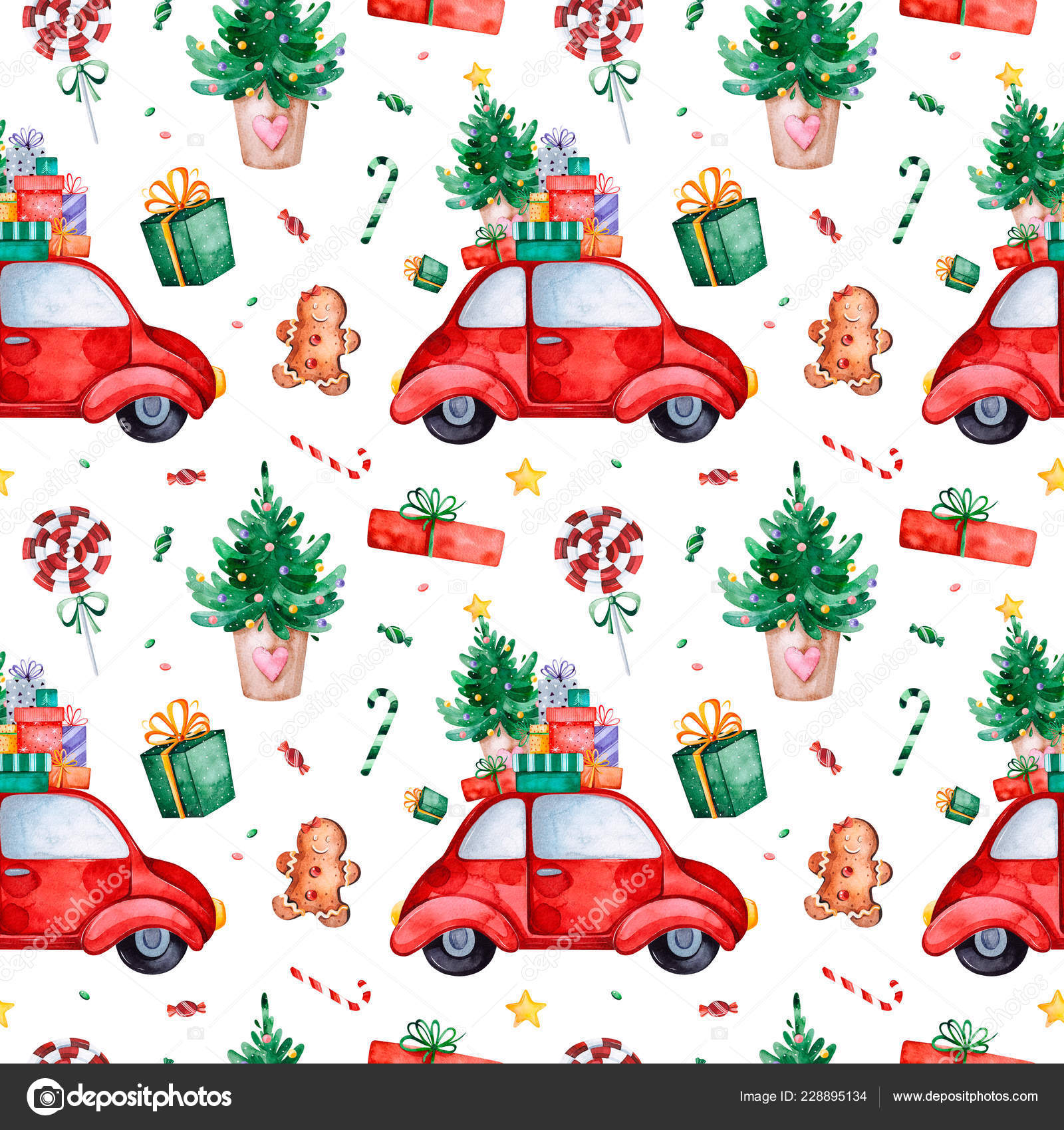 bright seamless pattern with christmas treecandyred retro cargift and morewatercolor holiday textureperfect for your christmas and