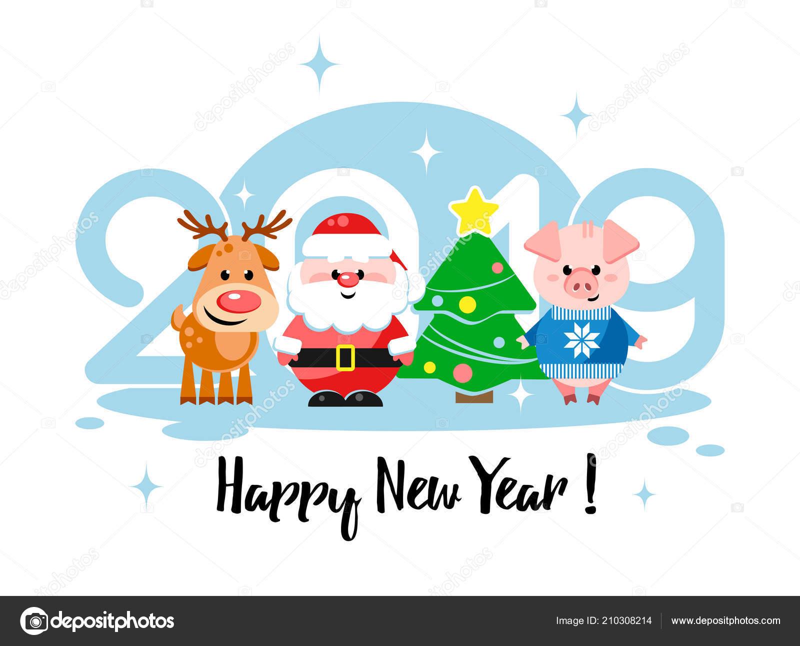 époustouflant Heureuse Nouvelle Année 2019 Carte Voeux Avec Des Personnages #GX_02