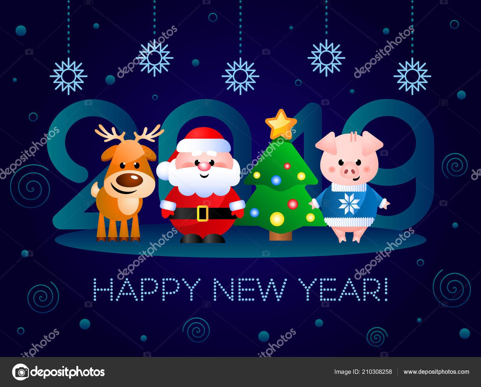 Felicitaciones Graciosas De Navidad 2019.Feliz Ano Nuevo 2019 Tarjeta Felicitacion Con Personajes