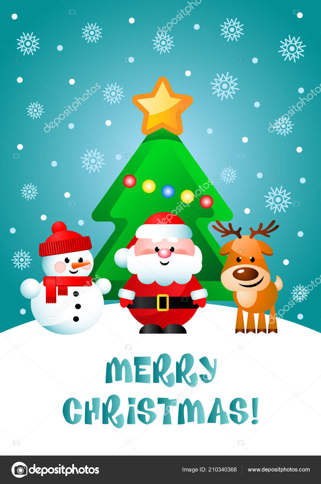 Christmas Greeting.Merry Christmas Greeting Card Cute Cartoon Characters Santa