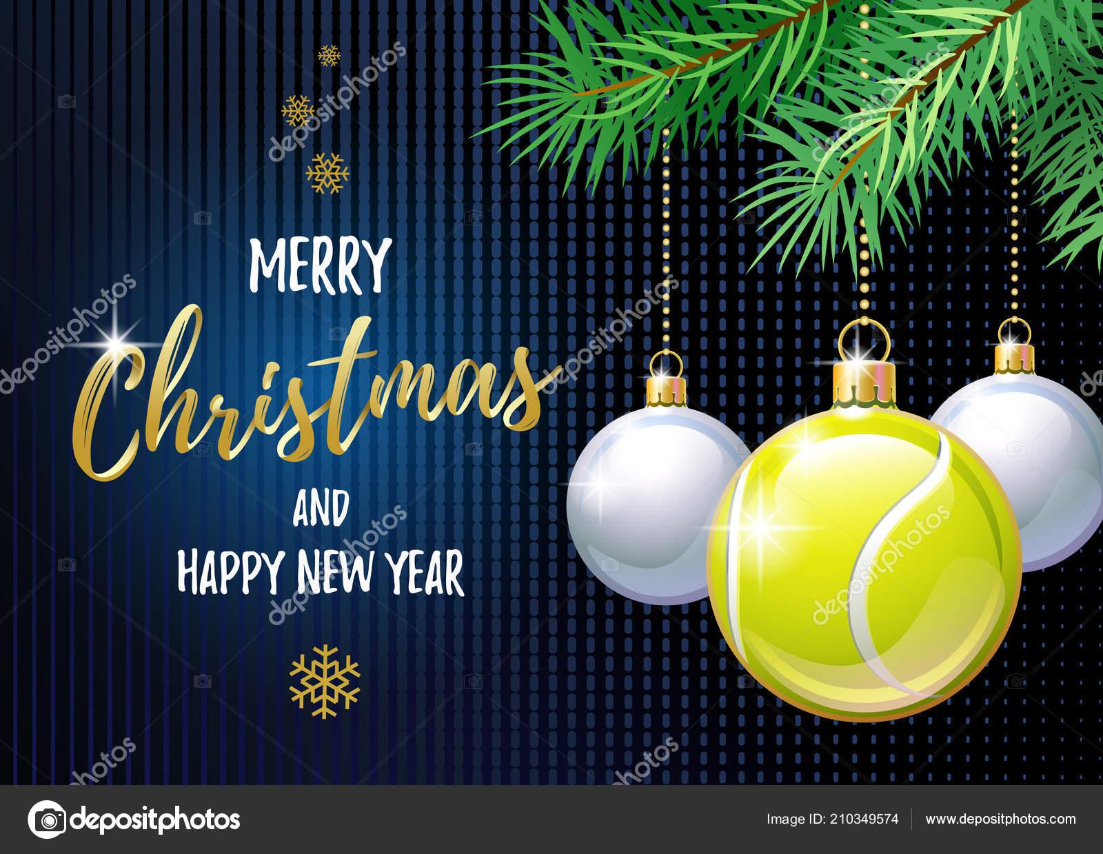Auguri Di Natale Tennis.Buon Natale Felice Anno Nuovo Cartolina Auguri Sport Pallina Tennis