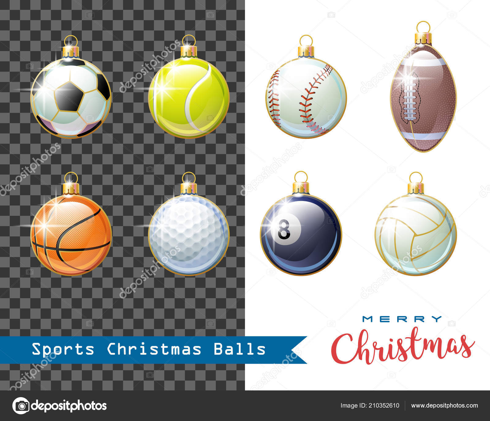 Merry Christmas! Collection of different Sports Christmas balls for your creative works. Soccer, Baseball, Basketball, Tennis, American Football, Rugby, ...