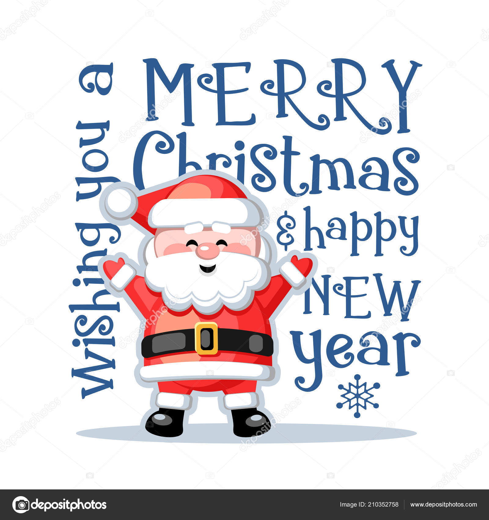 Merry Christmas Happy New Year Greeting Card Funny Santa Claus ...