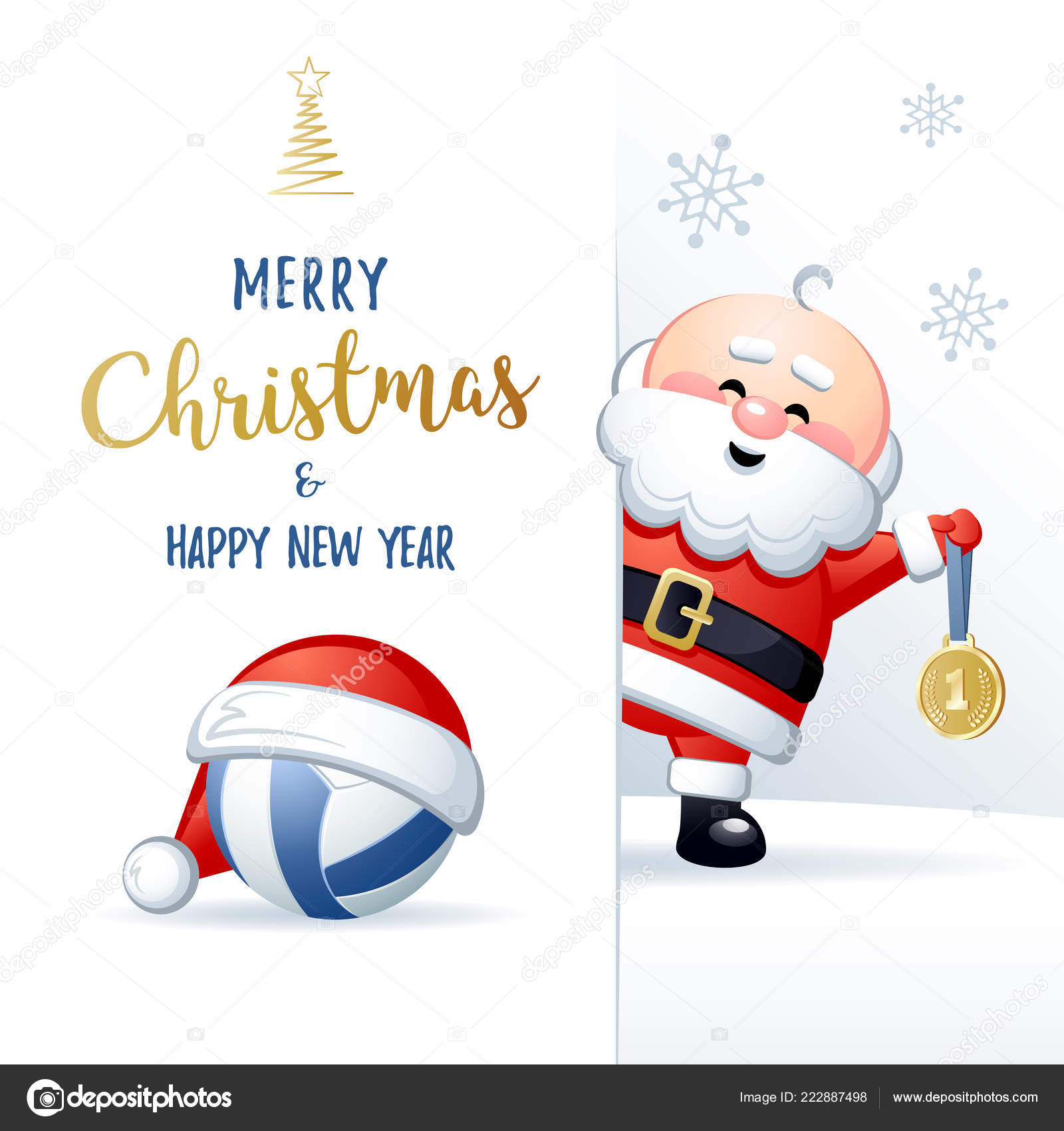 merry christmas happy new year sports greeting card cute santa stock vector