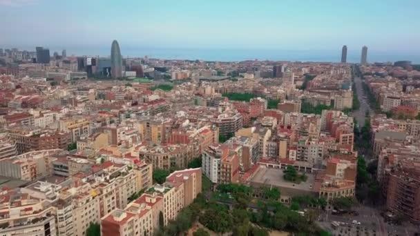 letní den barcelona panoráma letecké panorama 4k Španělsko