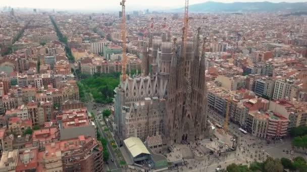 Aerial view La Sagrada Familia - the impressive cathedral designed by Gaudi