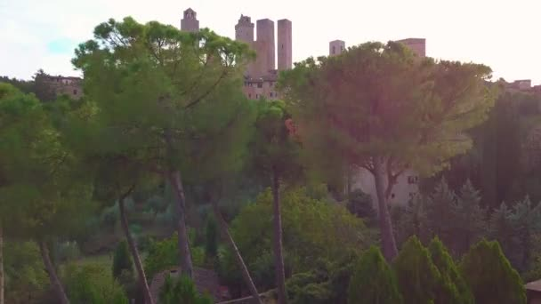 Aerial footage of San Gimignano, Italy. Located in the region of Tuscany.
