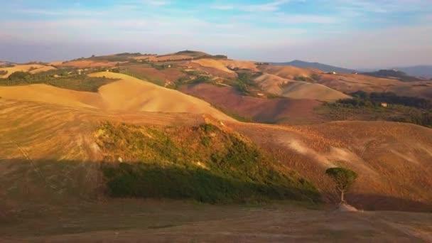 Letecké záběry, nádherné vinice na západ slunce v Toskánsku, 4k