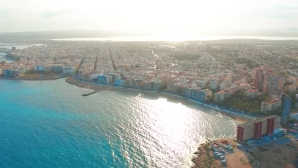 aerial view of beach and coast, Costa blanca coast, sunset