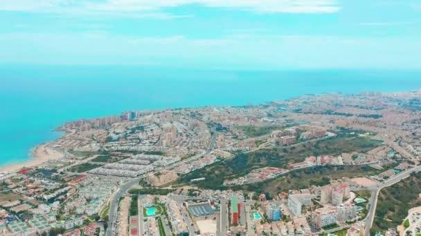 Letecký pohled. Torrevieja ze vzduchu, pobřeží Ana střechy