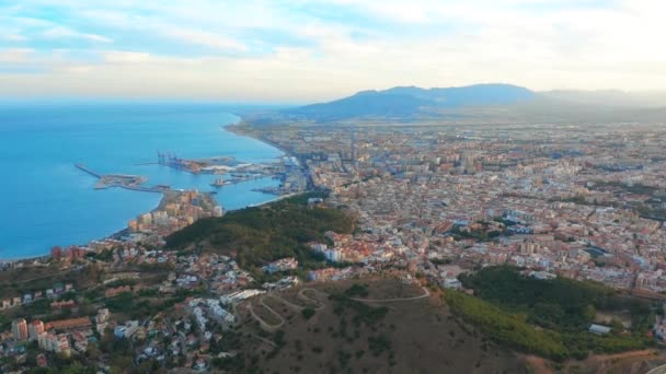 Aerial view of Malaga Costa del sol with the sea and mountains surrounding it.